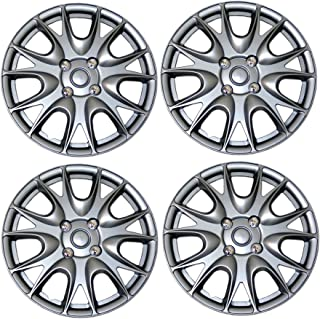 TuningPros WSC3-533S14 4pcs Set Snap-On Type (Pop-On) 14-Inches Metallic Silver Hubcaps Wheel Cover