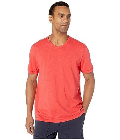 Tommy Bahama Portside Palms V-Neck T-Shirt (Zanzibar Red) Men