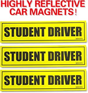 Set of 3 Please Be Patient Student Driver Magnetic Sign - Reflective Vehicle Car Signs Safety Sticker Bumper Magnet for New Drivers