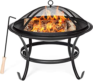 Best Choice Products 22in Steel Outdoor BBQ Grill Fire Pit Bowl w/Screen Cover, Log Grate, Poker for Camping, Bonfire
