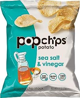 popchips Sea Salt & Vinegar Potato Chips Single Serve 0.8 oz Bags (Pack of 24) (F-AR-75500)