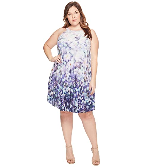 Adrianna Papell Plus Size Printed Stretch Chiffon Pleated ...