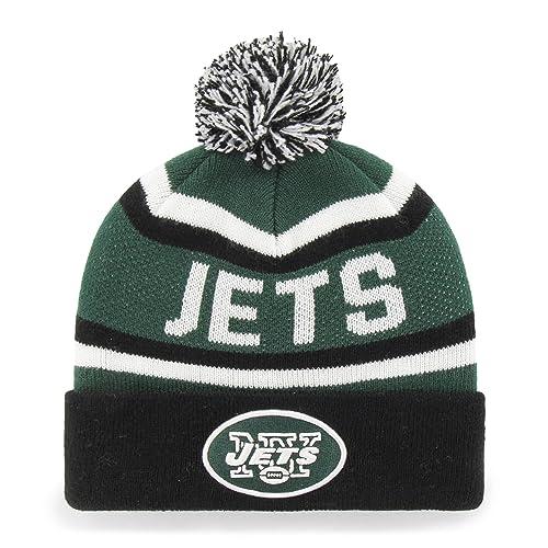 new product 2cf01 aad2e OTS NFL New York Jets Jasper Cuff Knit Cap with Pom, Dark Green, One