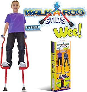 Geospace Original Walkaroo 'Wee' Balance Stilts with Adjustable Height for Little Kids & Beginners (Ages 4+) Active Play, in Assorted Colors (Red or Blue)