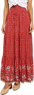 تنورة نسائية بطول نصف طول تنورة طويلة بنمط صيفي بطبعة مطاطا عادية عالية المرونة بخصر مطاطي Red