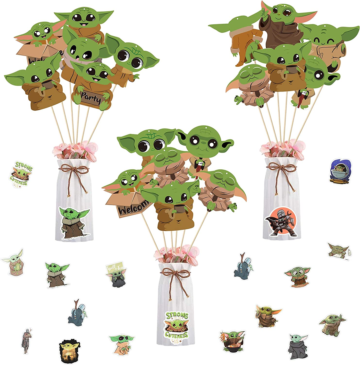 Xqumoi 80Pcs Baby Grogu Party Sticks 2021 spring and summer new Outstanding Centerpiece Decorations Ta