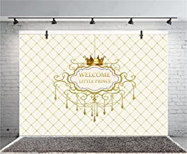 Leyiyi 7x5ft Photography Background Boys Baby Shower Backdrop Crown Welcome Little Prince Checkered Flag Royal Chandelier Banner Golden Letters Happy Birthday Photo Portrait Vinyl Studio Video Prop