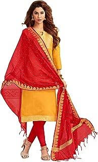 Maroosh Women's Silk Fabric Yellow Color Chudidar Free Size Dress Material