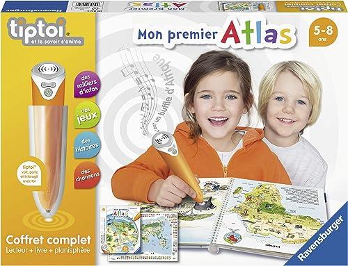 Ravensburger - Coffret Complet tiptoi Lecteur interactif + Livre en français Mon premier Atlas - Jeux électroniques é...