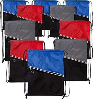 36 Pack - Wholesale Premium Drawstring Cinch Backpacks with Zipper Pocket in 3 Assorted Colors