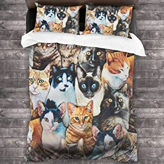 Brown Beige Cat Whiskers and Tails Microfiber Comforter Set 86x70 in, Unique 3 Piece Bedding Sets with 2 Pillowcase