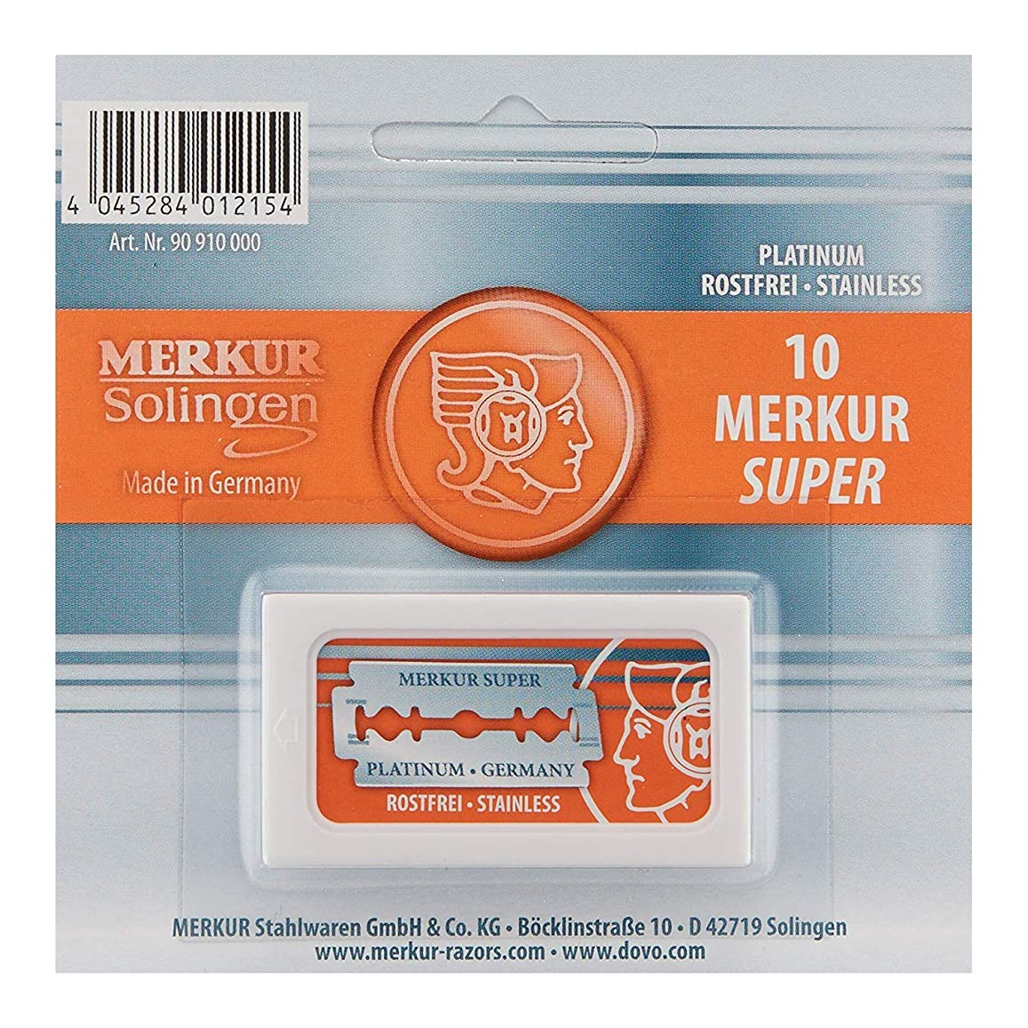 噂リング親Merkur Stainless Platinum Safety Razor Blades 10 Pack