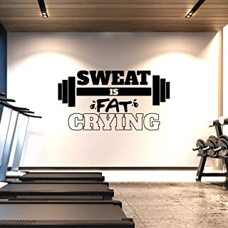 CrafteLife Extra Large Gym Wall Decal   Sweat is Fat Crying   XL 3 FT x 6 FT   Big Lettering Home or Gym Wall Decor   Inspirational Motivational Wall Sticker for Exercise and Workout Motivation