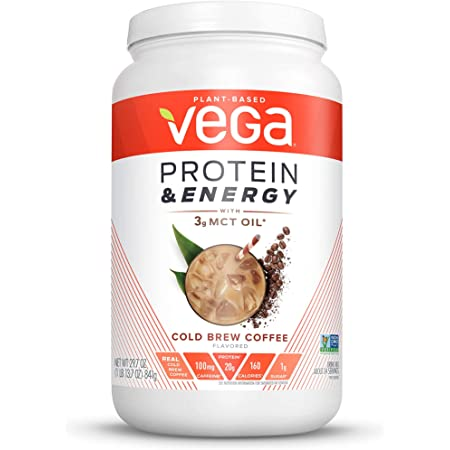 Vega Protein & Energy, Cold Brew Coffee, Plant Based Coffee Protein Powder - Vegan Protein Powder, Keto-Friendly, MCT Oil, Gluten Free, Dairy Free, Soy Free, Non GMO (24 Servings, 1lb 13.7oz)