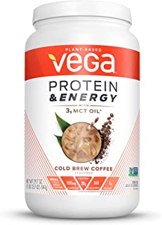 Vega Protein & Energy, Cold Brew Coffee, Plant Based Coffee Protein Powder - Vegan Protein Powder, Keto-Friendly, MCT Oil,...
