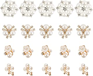 Tugaizi 40 Pcs Rhinestone Pearl Embellishments Flatback Pearl Crystal Faux Pearl Flower Embellishments Crystal Rhinestone Round White for Jewelry Making Wedding Party Home Decoration DIY Craft