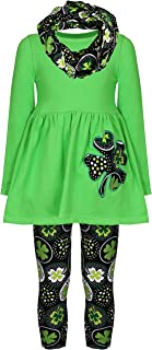 Sponsored Ad - Amor Bee Little Girls St. Patrick's Day Shamrock Lucky Clover 3pc Outfit Set - Top, Pants & Scarf