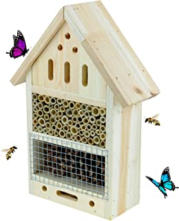 Clever Garden | Wooden Insect Hotel 22x9x32 cm| Great for All Types of Outside Insects