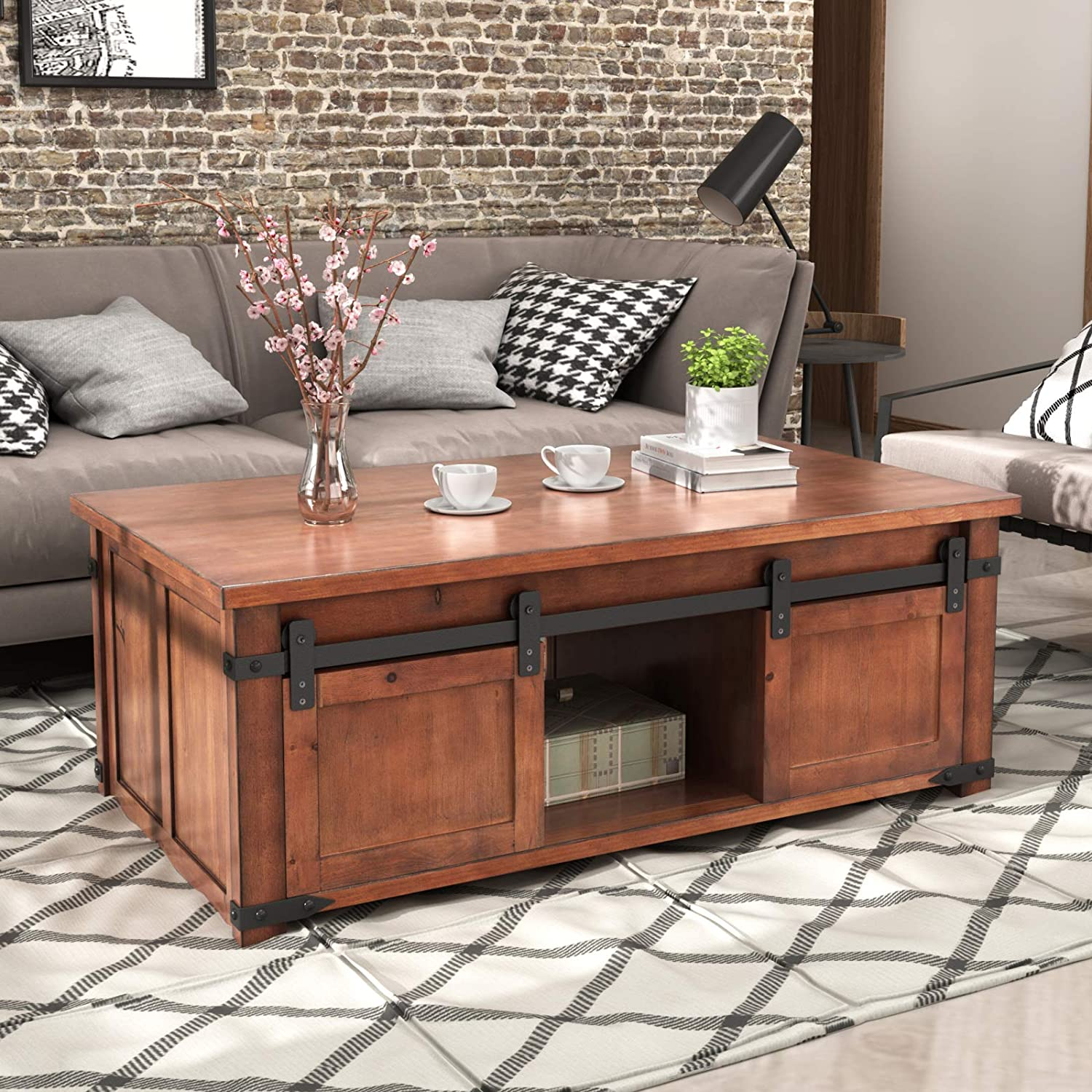 MOOVGTP Coffee Table with Storage and Purchase Cabinets Max 82% OFF Shelf Industrial