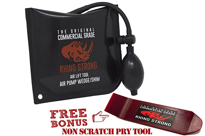 The Original Rhino Strong Commercial Grade Air Wedge Bag Pump Professional Leveling Air Lift Kit & Alignment Tool Inflatable Shim Bag in the Popular Medium Size (Single).