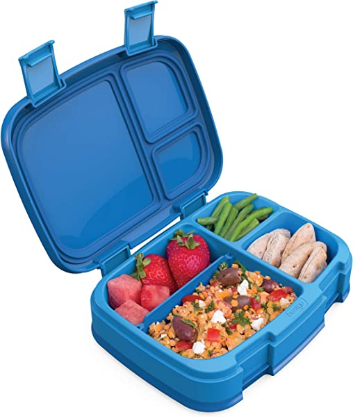 Bentgo Fresh Blue New Improved Leak Proof Versatile 4 Compartment Bento Style Lunch Box Ideal For Portion Control And Balanced Eating On The Go BPA Free And Food Safe Materials