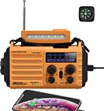 NOAA Emergency Crank Solar Self Powered AM/FM/Shortwave Weather Radio with Flashlight, Reading Lamp, SOS Alarm, 2000mAh Re...