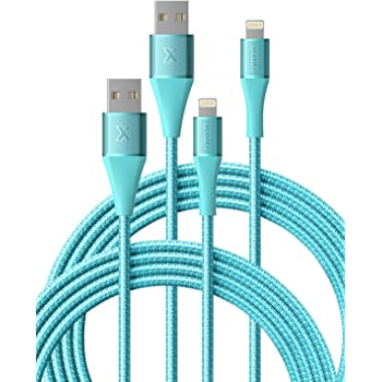 iPhone Charger 6ft 2 Pack, Xcentz Apple MFi Certified Lightning Cable Nylon Braided High-Speed Data Sync Cord with Metal Connector for iPhone 11/11 Pro/Pro max/X/XS/XR/XS Max, iPad Mini/Air, Blue