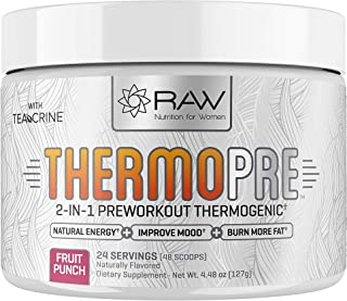 RAW Synergies Pre Workout Thermogenic Fat Burner Powder for Women and Men, All Natural Energy & Weight Loss Supplement – F...
