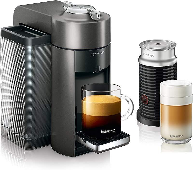 Nespresso ENV135GYAE Coffee And Espresso Machine Bundle With Aeroccino Milk Frother By De Longhi Graphite Metal