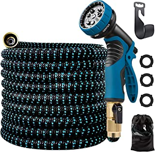ANNOR Garden Hose, 50ft Expandable Coil Water Hose with 9 Function Spray and 4 Layers Durable Latex Core, Flexible and Retractable Garden Hoses, Expanding Hose for Patio Watering Car Pet Washing. Blue