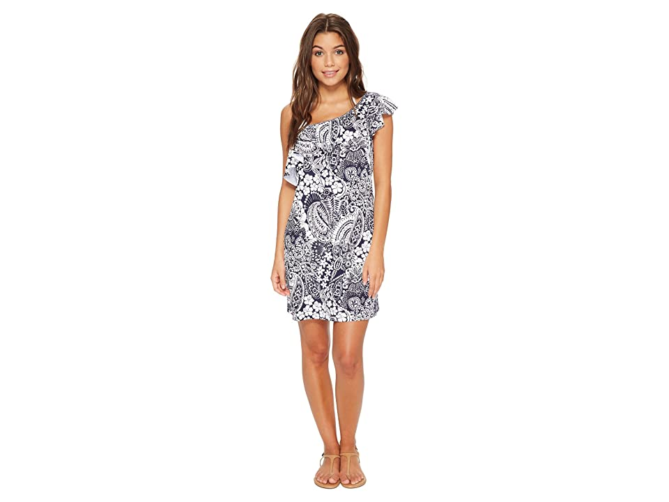 Tommy Bahama Paisley Paradise Off-The-Shoulder Swim Dress Cover-Up (Mare Navy) Women