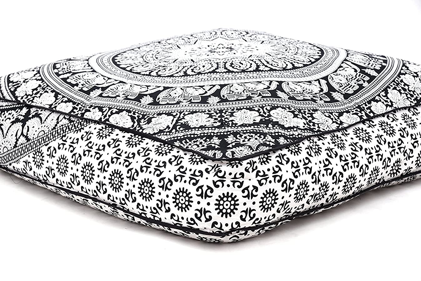 Elephant Mandala Floor Pillow Indian Square Ottoman Pouf Large Meditation Pillow Oversized Outdoor Bed 35 x 35x Inch