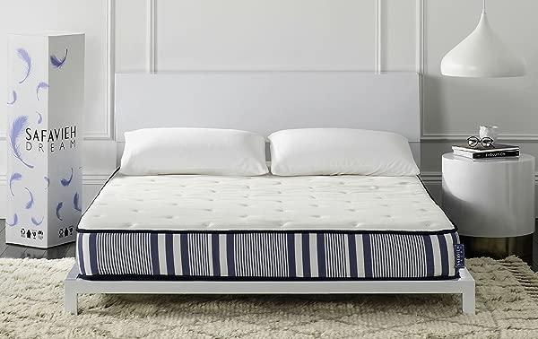 Safavieh 梦系列 Tranquility 白色和海军弹簧床垫 8-12 英寸王