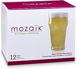 Mozaik Premium Plastic 17 oz. Beer Glasses, 12 count