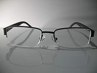 Foster Grant Tech Wilder Premium Black Gunmetal Half Frame Mens Reading Glasses +2.50 Hard CASE + Microfiber Cloth Included