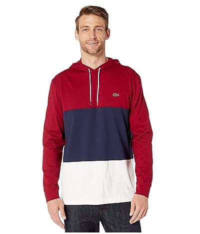Lacoste Long Sleeve Color Block Jersey T-Shirt (Flour/Navy Blue/Bordeaux) Men