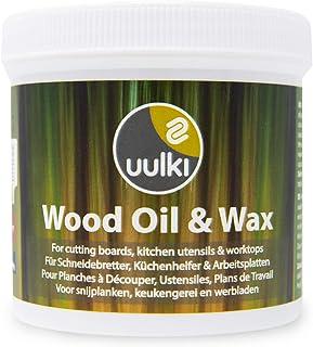 Uulki Cuidado de la madera Natural Cera y Aceite 2-in-1 (250 ml) Vegetal / vegano para Tablas de cortar, Utensilios de cocina, Tabla de carnicero, Cocina encimera de madera o bambú