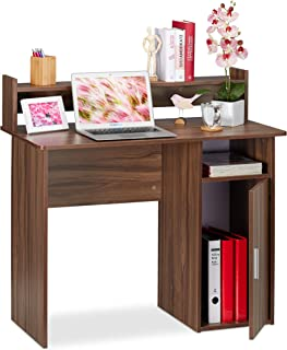 Relaxdays Rangement, Casier-étagère du côté Droit, Bureau Dimensions HlP 96x100x50 cm, Brun, Panneau de Particules, Effet ...