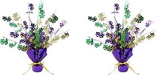 Beistle Mardi Gras Gleam 'N Burst Centerpieces 2 Piece, Green/Gold/Purple