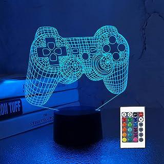 CooPark 3D Game Controller Lampe Nachtlicht 3D Illusionslampe für Kinder, 16 Farben ändern sich mit Fernbedienung, Kinderz...