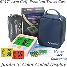 """Fully Automatic Medical Grade Upper Arm Digital Blood Pressure Monitor with 9""""-17"""" Small to X-Large Arm Cuff, Jumbo 5"""