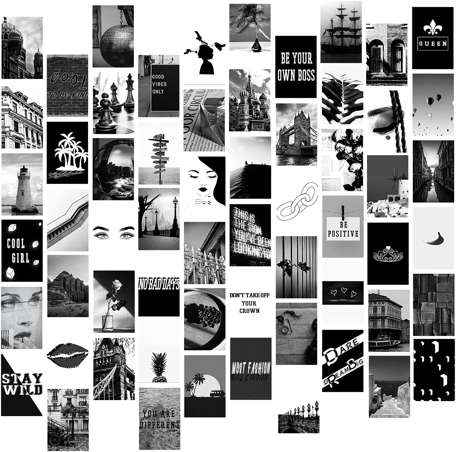 Amazon Com 60 Pieces Wall Collage Kit Aesthetic Room Decor For Bedroom Black And White Photo Art Pictures Collage Kit For Teen Girls And Women Graduation Gift For 2021 Graduates 4x6 Inch Photo Collection Home