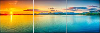 Split Canvas Wall Art Decor - Large Panoramic Sunset Ocean Wall Art, 3 Panels Hanging Canvas Art Set - Decorative Wall Art Prints for Living Room, Bedroom, Office, Home Decor, Gift, 24x72 Inch