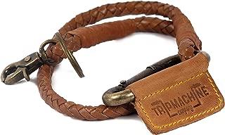 Trip Machine Company Leather Braided Keychain Vintage Tan