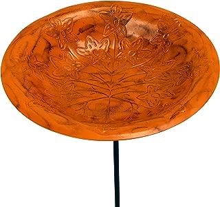 Monarch Abode 19141 Metal Stake Garden Décor Monarch Standing Bath Bird Feeder, Paradise (Sunset Orange)