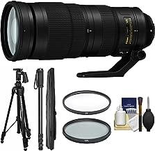 Nikon 200-500mm f/5.6E VR AF-S ED Nikkor Zoom Lens with Pistol Grip Tripod + Monopod + Filters + Kit for DSLR Cameras
