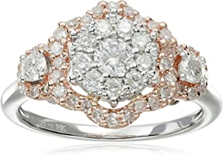 10k Pink and White Gold Diamond Hexagon Ring (1cttw, H-I Color, I2-I3 Clarity), Size 7