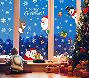 218 Pcs Christmas Window Clings Double-Side Removable Reuse Snowflake Stickers for Glass Holiday Snowflake Xmas Decals Decorations(9 Sheet)