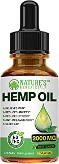 Organic Hemp Oil Extract Drops 2000mg - Ultra Premium Pain Relief Anti-Inflammatory, Stress & Anxiety Relief, Joint Suppor...