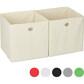 Relaxdays Aufbewahrungsbox Stoff 2er Set Quadratisch Aufbewahrung Fur Regal Stoffbox In Wurfelform 30x30x30 Cm Beige Amazon De Kuche Haushalt